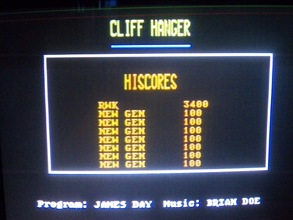 Cliff Hanger 3,400 points