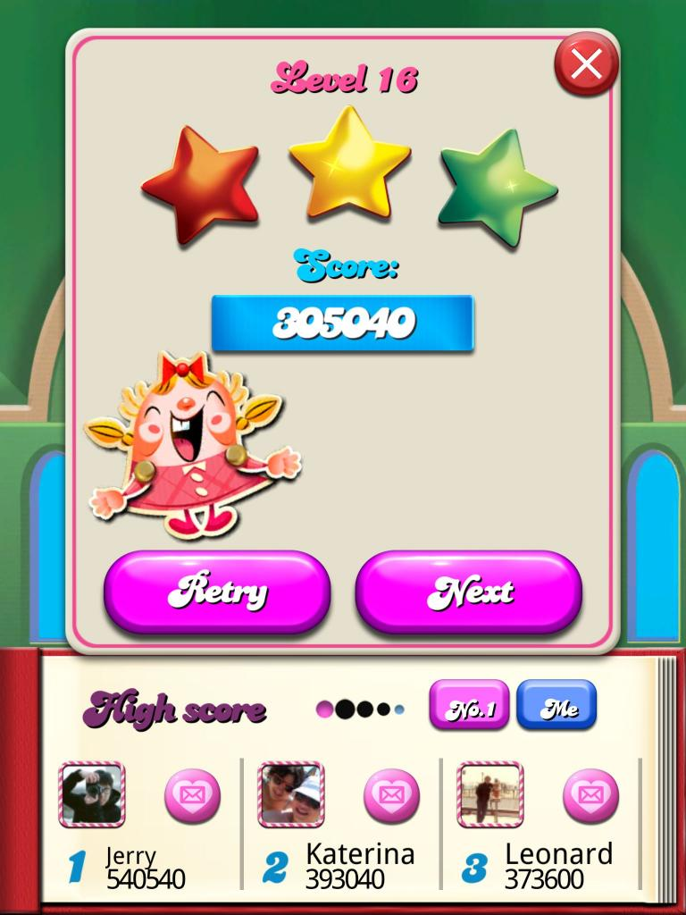 Candy Crush Saga: Level 016 305,040 points