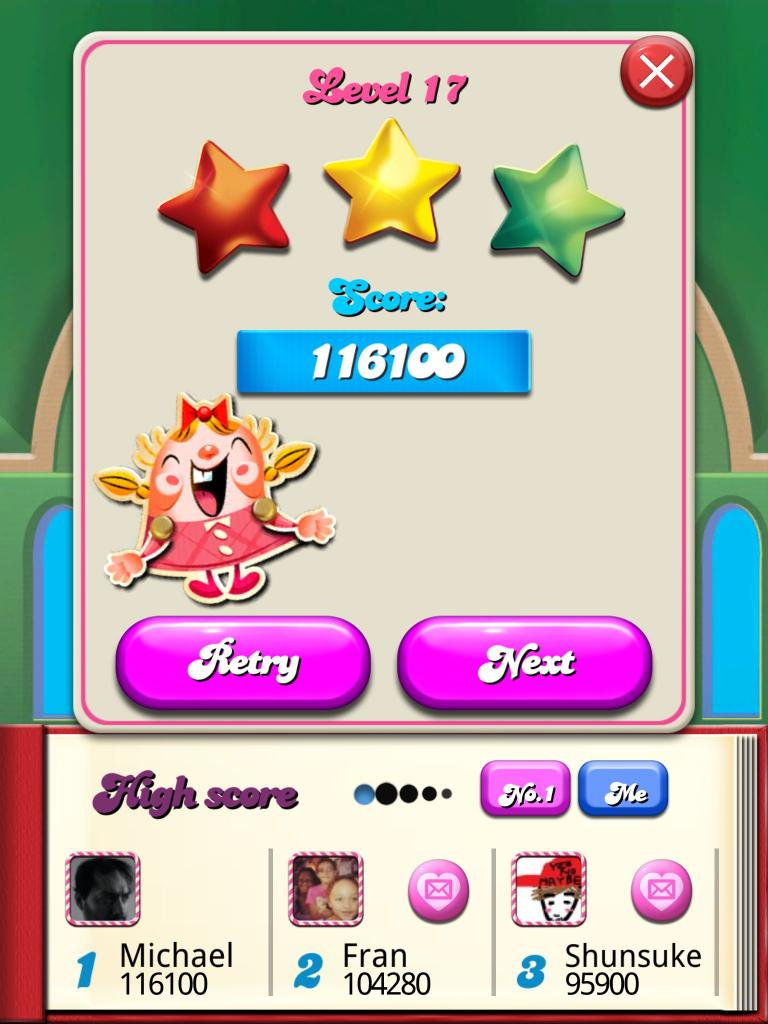 Candy Crush Saga: Level 017 116,100 points