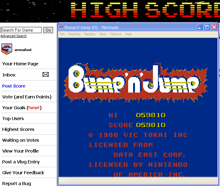 arenafoot: Bump N Jump (NES/Famicom Emulated) 59,810 points on 2014-04-30 00:11:11