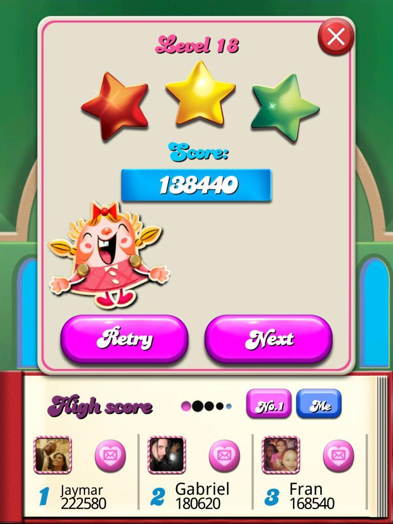 Candy Crush Saga: Level 018 138,440 points