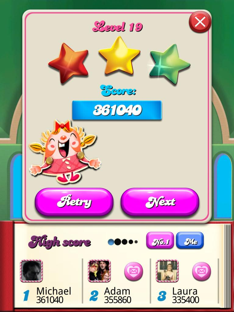 Candy Crush Saga: Level 019 361,040 points