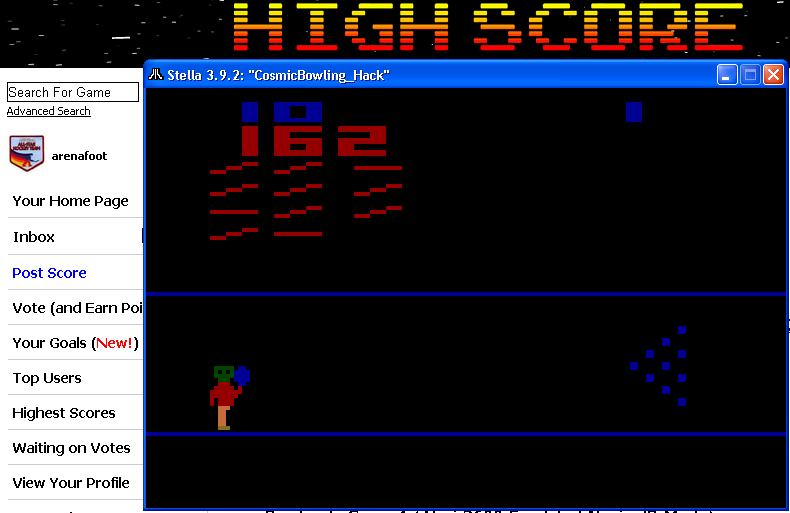 arenafoot: Cosmic Bowling (Atari 2600 Emulated Novice/B Mode) 162 points on 2014-05-01 01:39:24