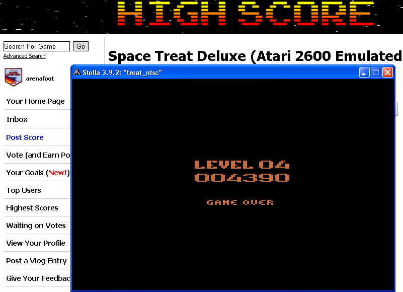arenafoot: Space Treat Deluxe (Atari 2600 Emulated Novice/B Mode) 4,390 points on 2014-05-01 02:00:57