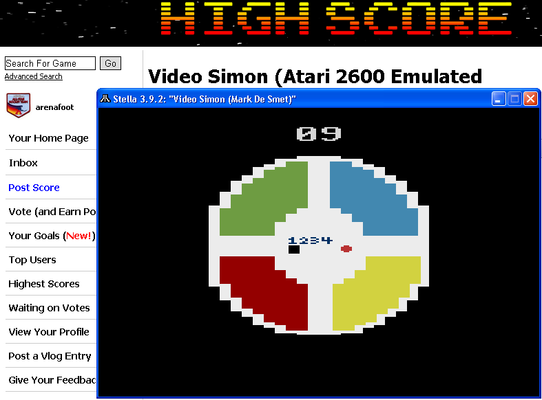arenafoot: Video Simon (Atari 2600 Emulated Novice/B Mode) 9 points on 2014-05-01 02:05:53