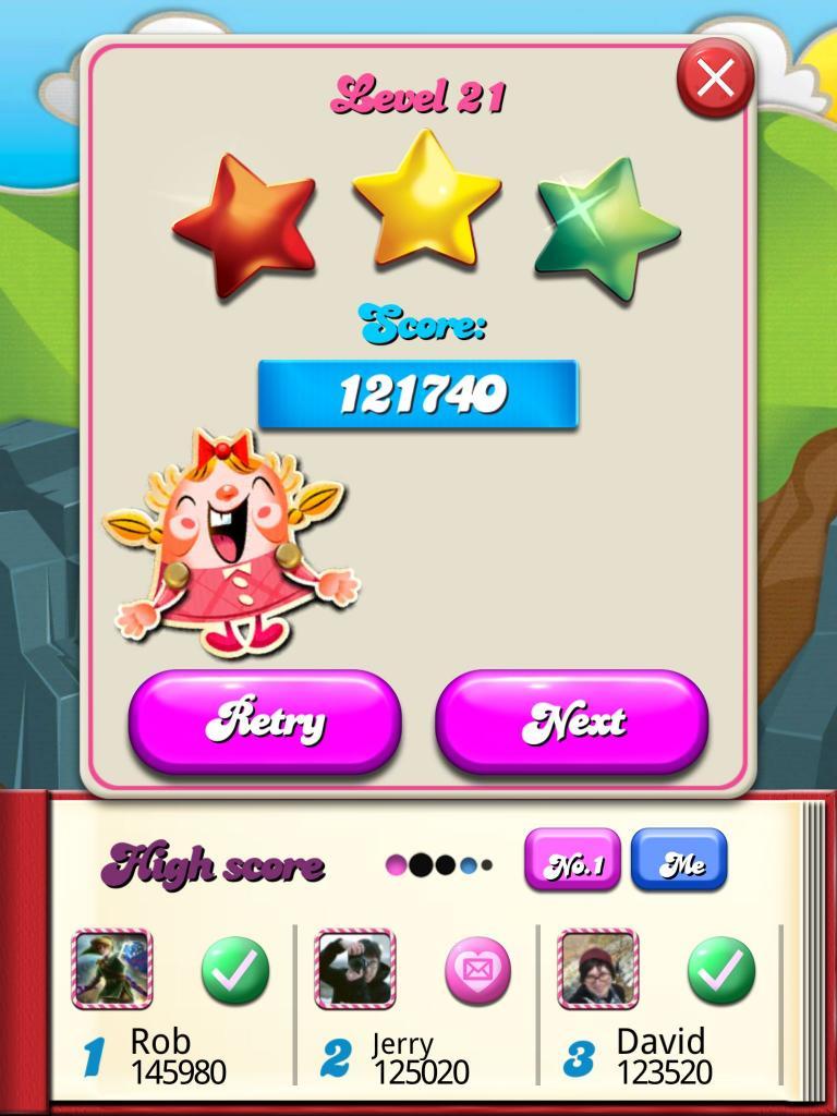 Candy Crush Saga: Level 021 121,740 points