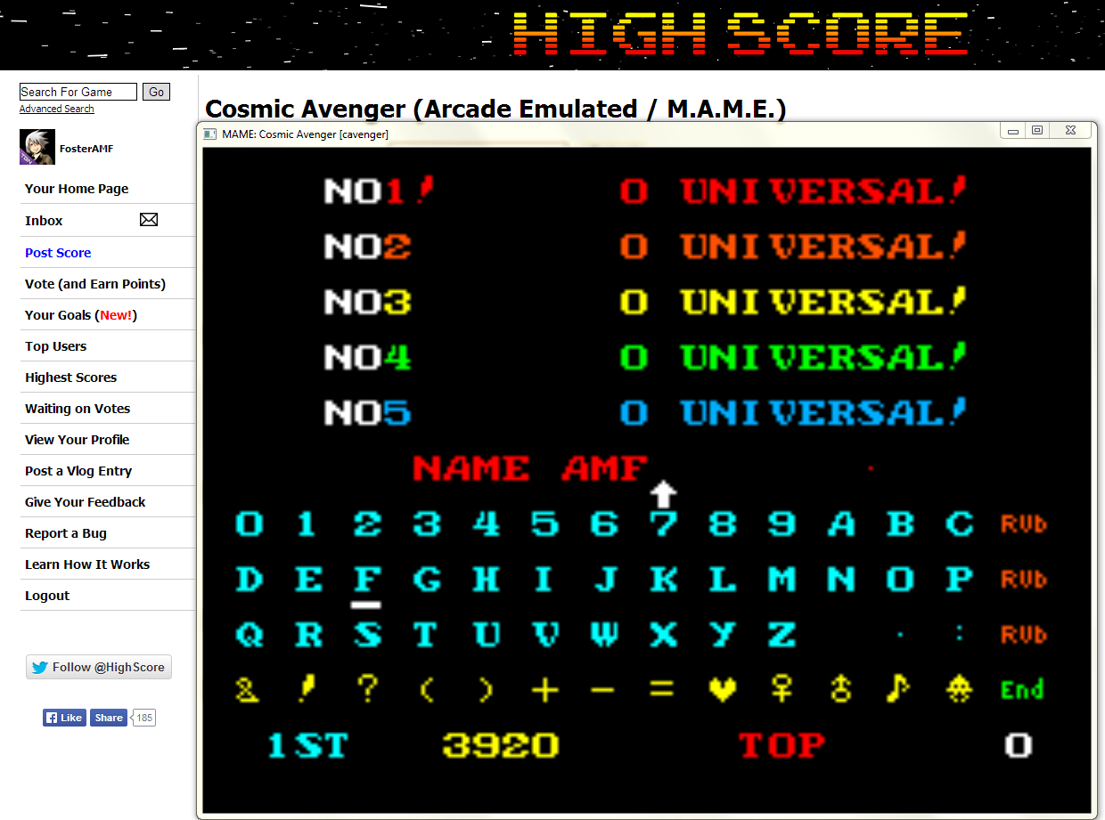 FosterAMF: Cosmic Avenger (Arcade Emulated / M.A.M.E.) 3,920 points on 2014-05-01 13:51:30