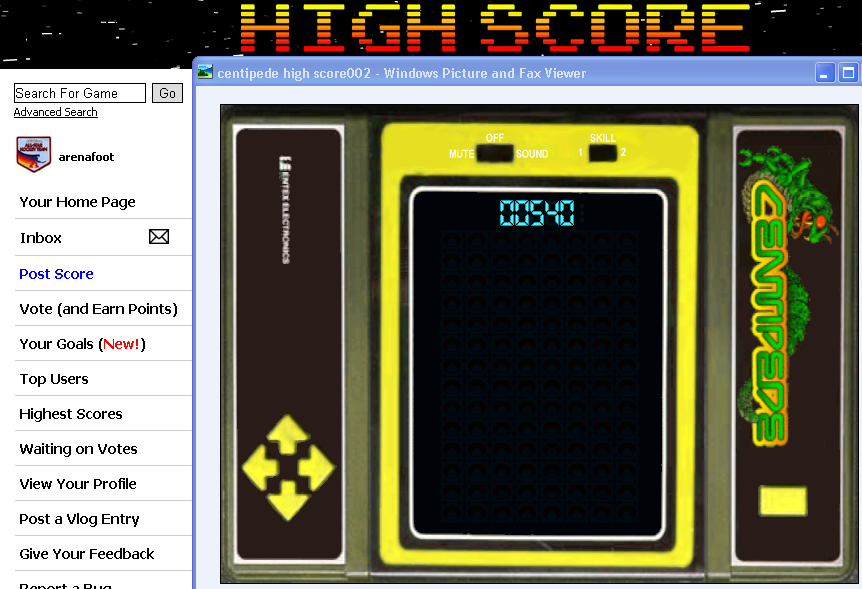 arenafoot: Centipede VFD (Dedicated Handheld Emulated) 540 points on 2014-05-02 00:08:12