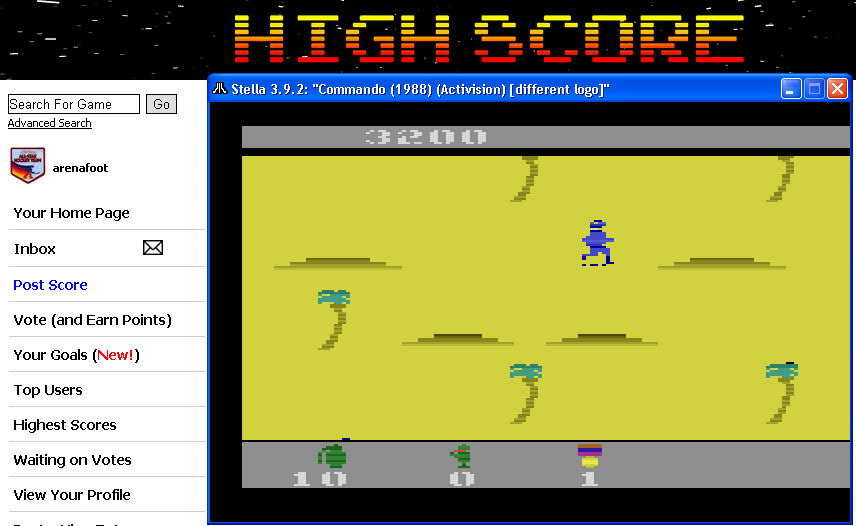 arenafoot: Commando (Atari 2600 Emulated) 3,200 points on 2014-05-02 01:59:39