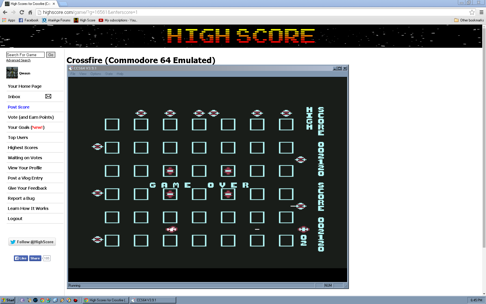 Qwaun: Crossfire (Commodore 64 Emulated) 2,120 points on 2014-05-02 11:56:09