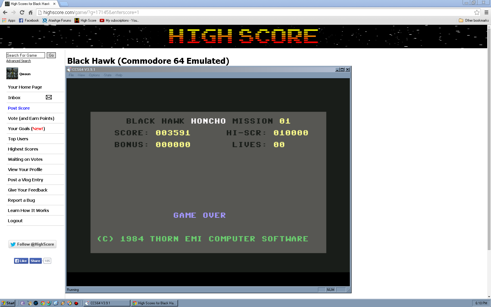 Qwaun: Black Hawk (Commodore 64 Emulated) 3,591 points on 2014-05-02 12:00:04