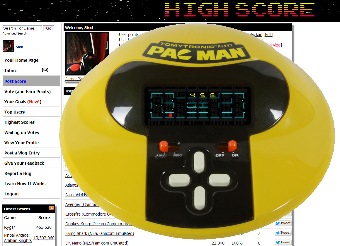 Sixx: TomyTronic Pac-Man (Dedicated Handheld Emulated) 456 points on 2014-05-02 15:53:31