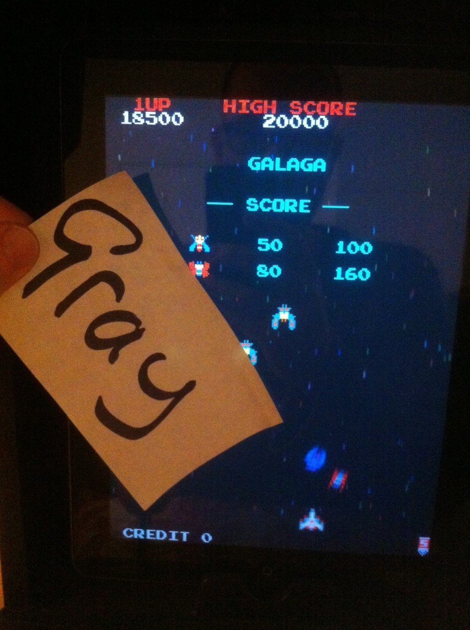 Galaga 18,500 points