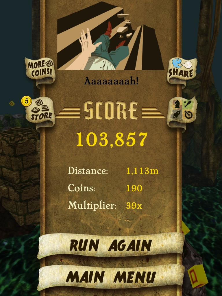 Temple Run 103,857 points