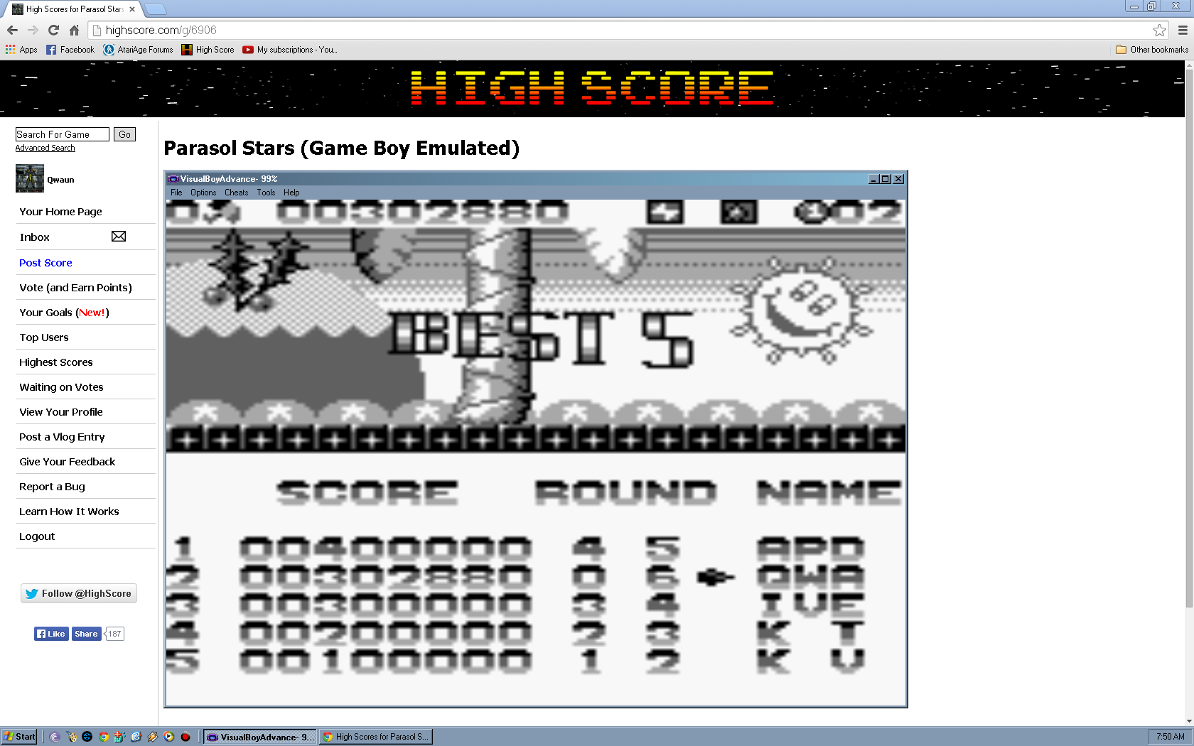 Qwaun: Parasol Stars (Game Boy Emulated) 302,880 points on 2014-05-04 09:49:53