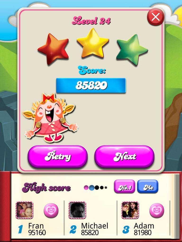 Candy Crush Saga: Level 024 85,820 points