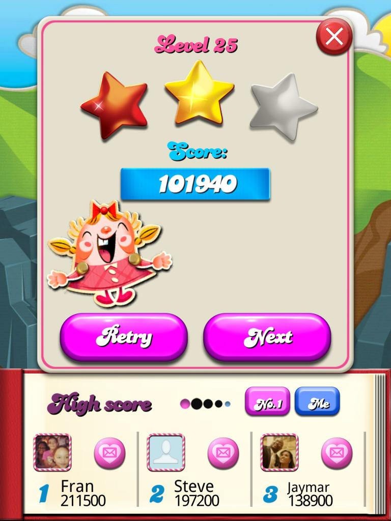 Candy Crush Saga: Level 025 101,940 points