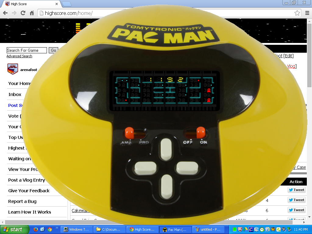arenafoot: TomyTronic Pac-Man (Dedicated Handheld Emulated) 1,192 points on 2014-05-04 23:42:59
