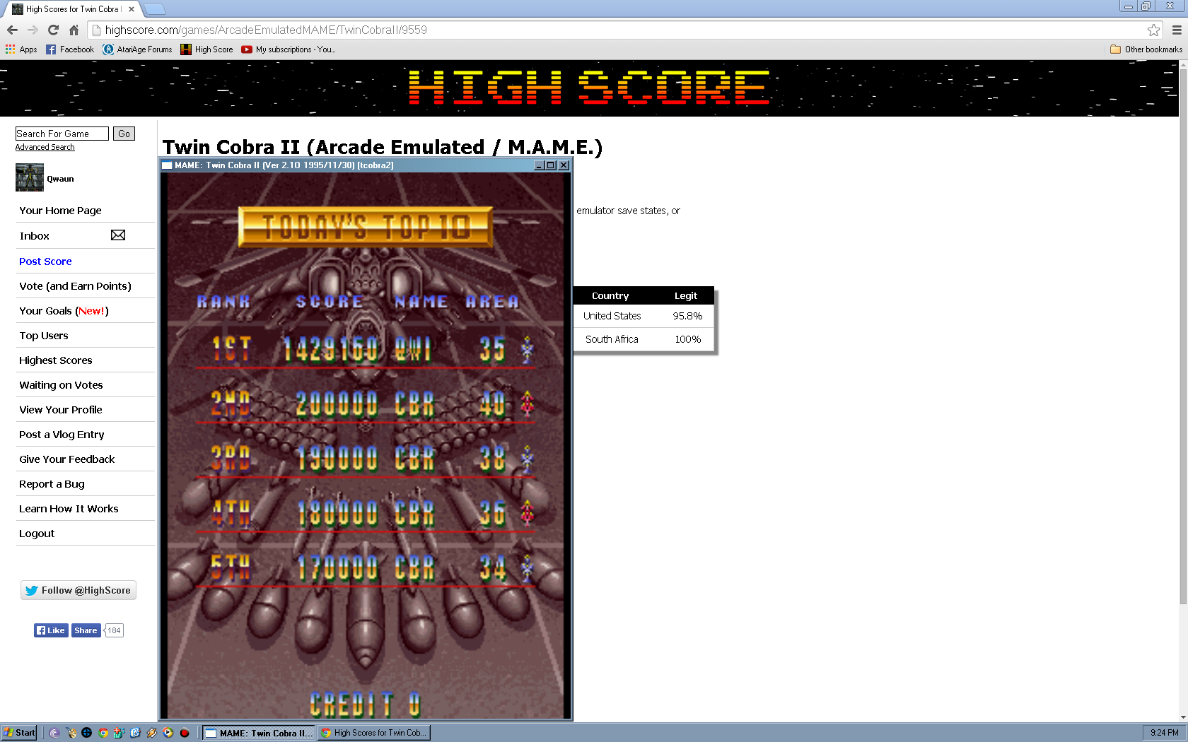 Qwaun: Twin Cobra II (Arcade Emulated / M.A.M.E.) 1,429,160 points on 2014-05-05 20:27:40