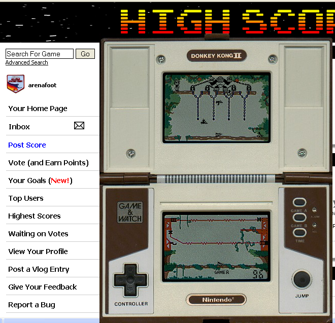 arenafoot: Game and Watch: Donkey Kong II (Dedicated Handheld Emulated) 96 points on 2014-05-06 00:40:13