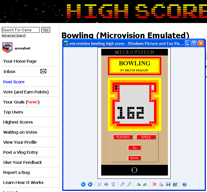 arenafoot: Bowling (Microvision Emulated) 162 points on 2014-05-06 02:05:57