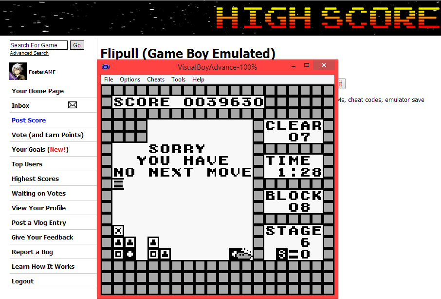 FosterAMF: Flipull (Game Boy Emulated) 39,630 points on 2014-05-06 15:24:43