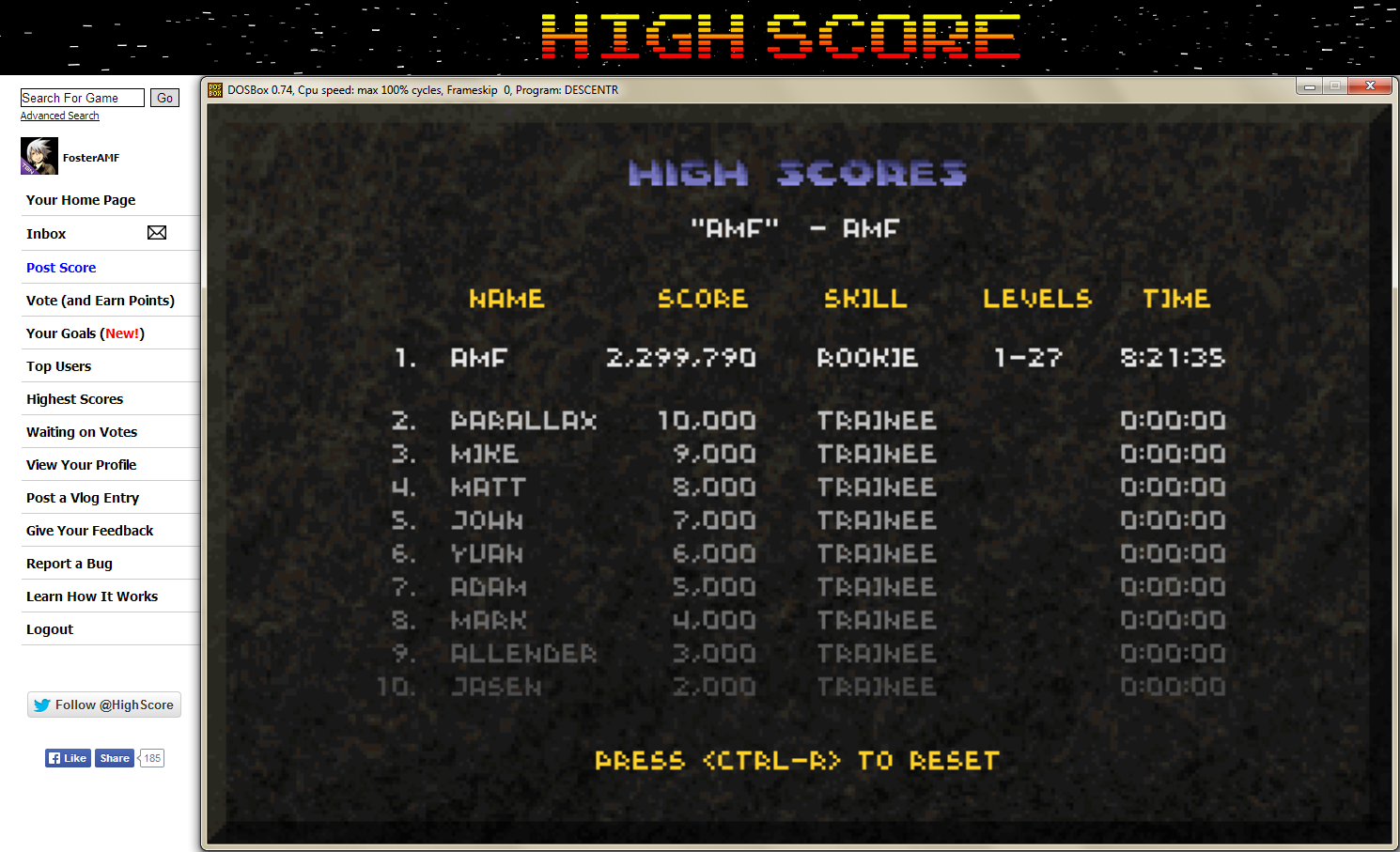 FosterAMF: Descent: Total Score [Rookie] (PC Emulated / DOSBox) 2,299,790 points on 2014-05-07 00:08:54