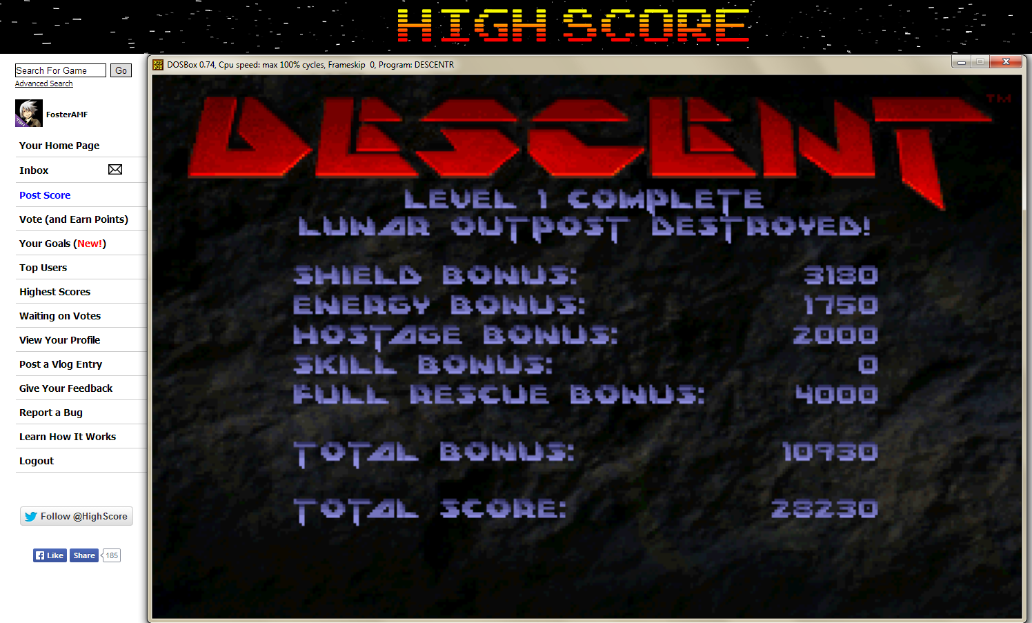FosterAMF: Descent: Lunar Outpost [Rookie] (PC Emulated / DOSBox) 28,230 points on 2014-05-07 00:11:16