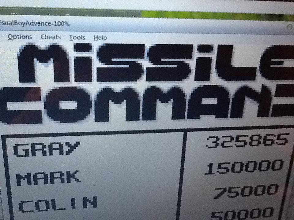 Gray: Missile Command (Game Boy Emulated) 325,865 points on 2014-05-07 07:55:21