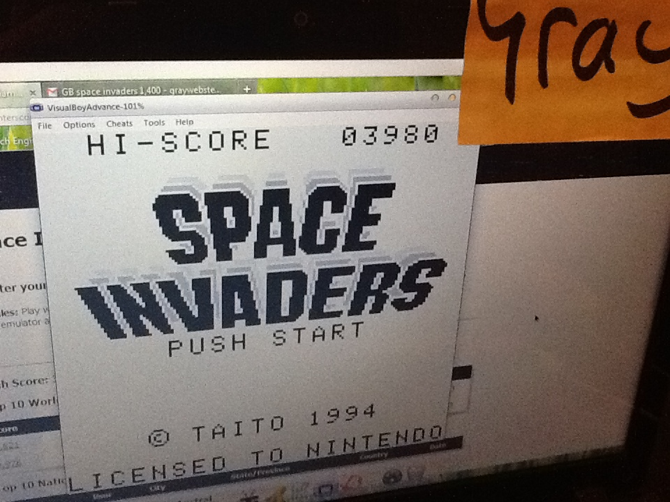 Gray: Space Invaders (Game Boy Emulated) 3,980 points on 2014-05-07 09:51:51