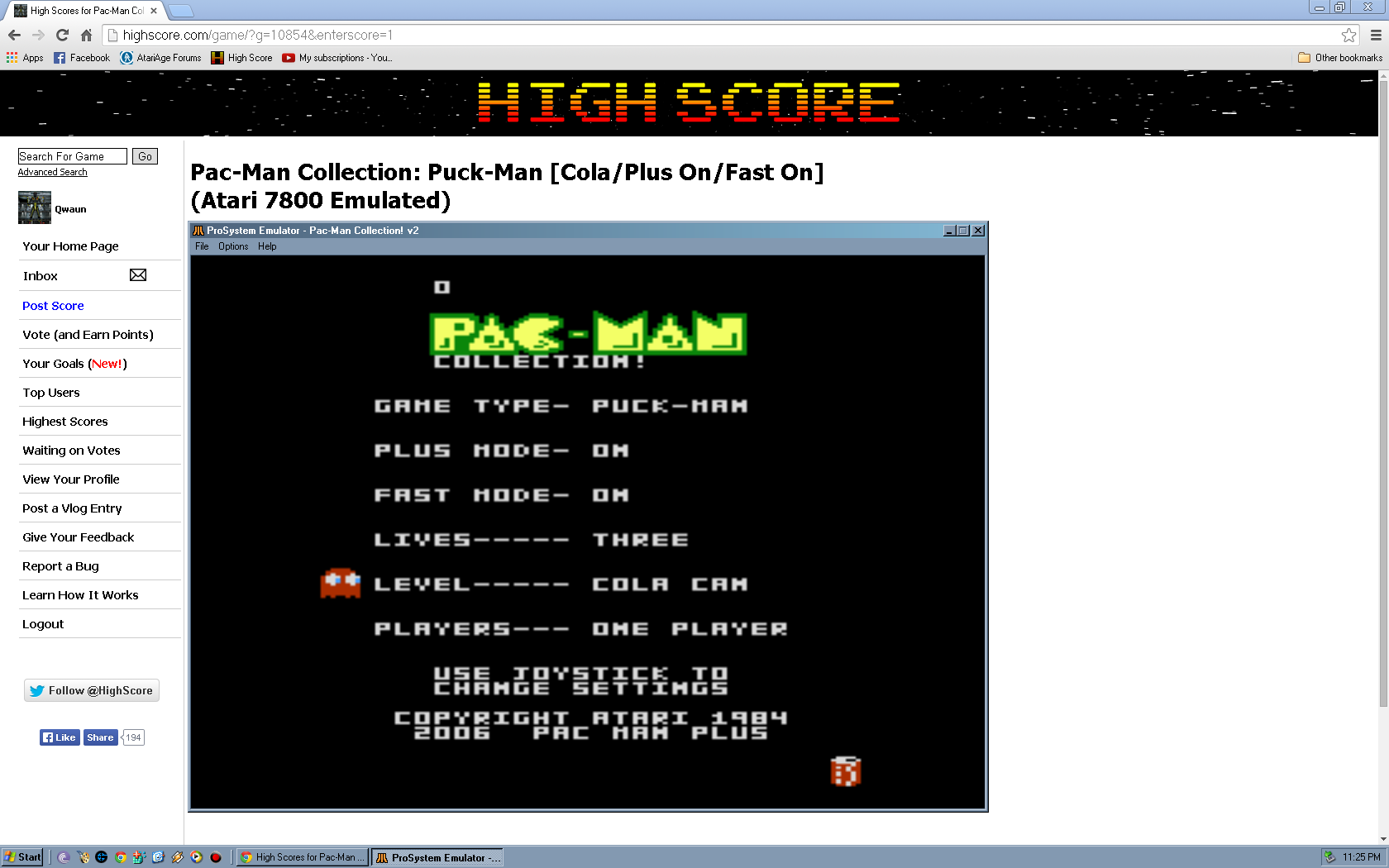 Qwaun: Pac-Man Collection: Puck-Man [Cola/Plus On/Fast On] (Atari 7800 Emulated) 14,780 points on 2014-05-08 01:34:58