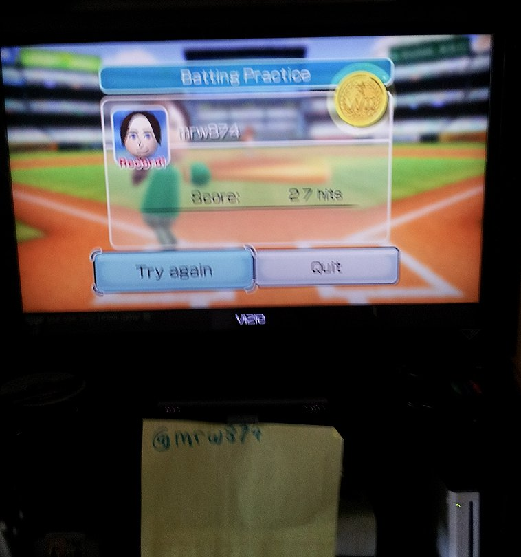 mrw874: Wii Sports: Baseball [Batting Practice] (Wii) 27 points on 2014-05-08 12:53:18