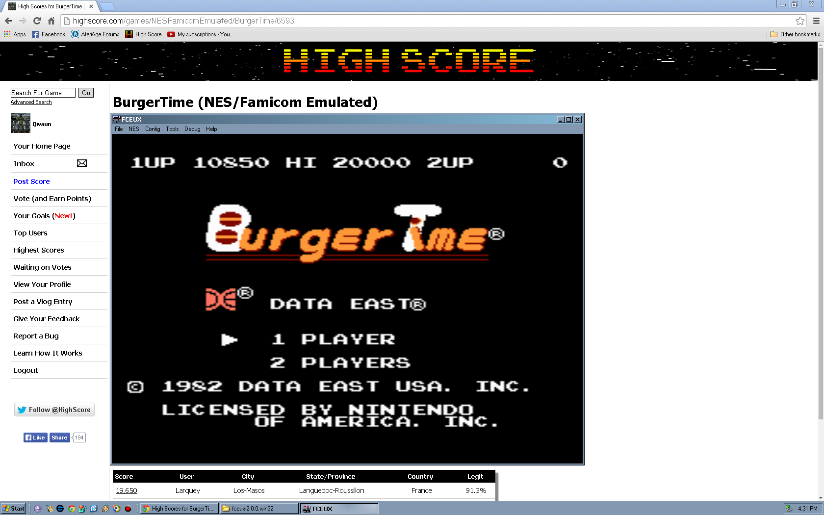 Qwaun: BurgerTime (NES/Famicom Emulated) 10,850 points on 2014-05-08 18:30:57