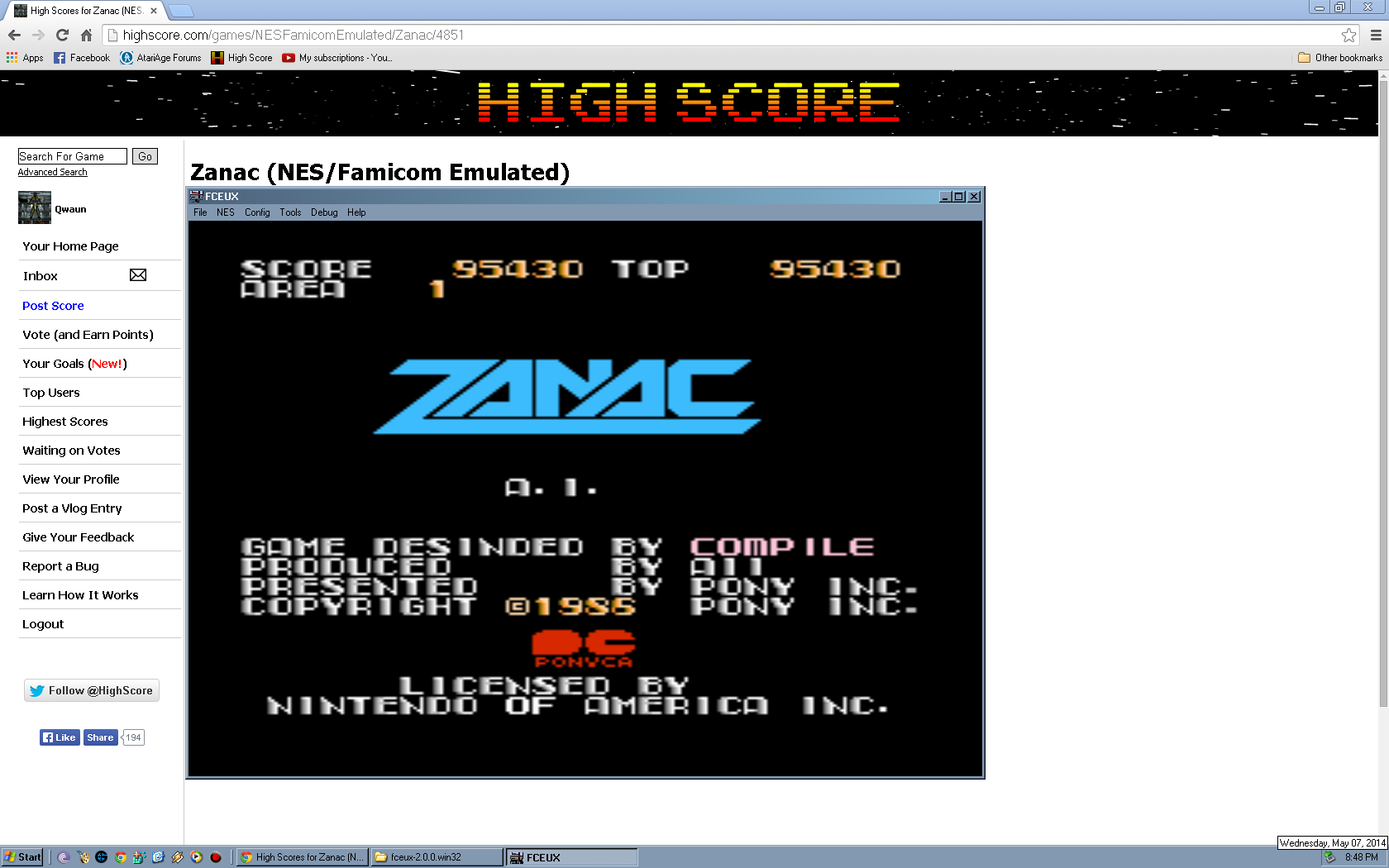 Qwaun: Zanac (NES/Famicom Emulated) 95,430 points on 2014-05-08 18:56:01
