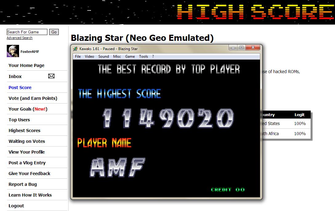 FosterAMF: Blazing Star (Neo Geo Emulated) 1,149,020 points on 2014-05-08 20:08:47