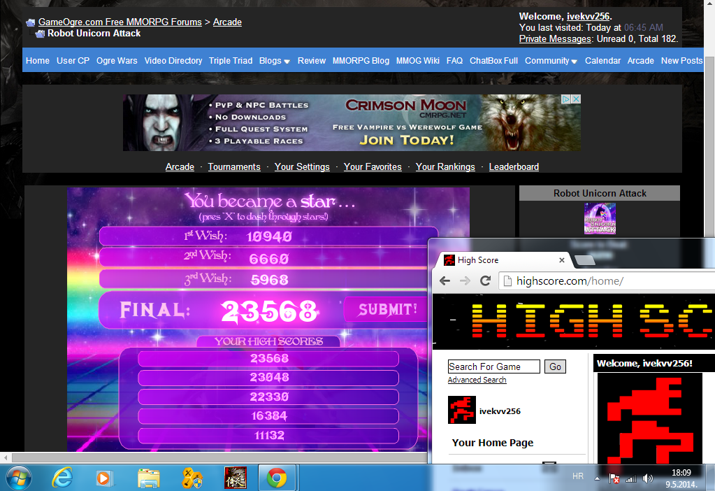 Robot Unicorn Attack 23,568 points