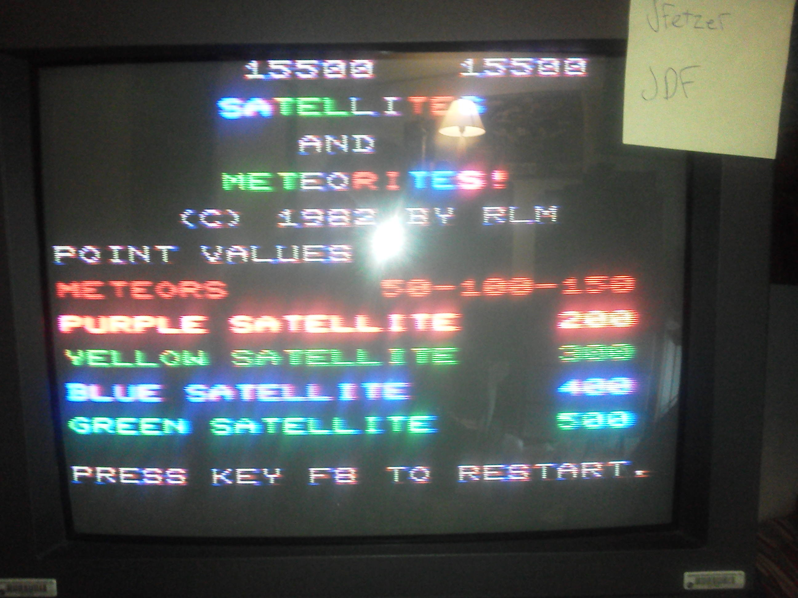 jfetzer: Satellites and Meteorites (Commodore VIC-20) 15,500 points on 2014-05-09 13:09:50
