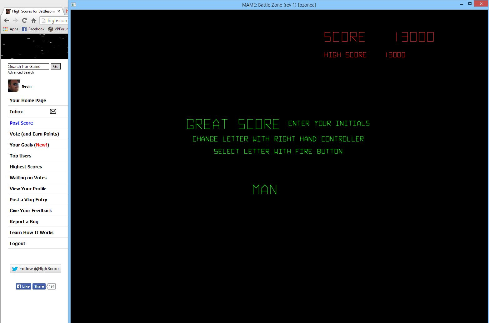 Nevin: Battlezone (Arcade Emulated / M.A.M.E.) 13,000 points on 2014-05-09 15:49:45