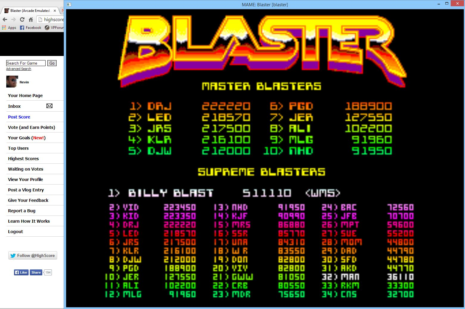 Nevin: Blaster (Arcade Emulated / M.A.M.E.) 36,110 points on 2014-05-09 15:59:53