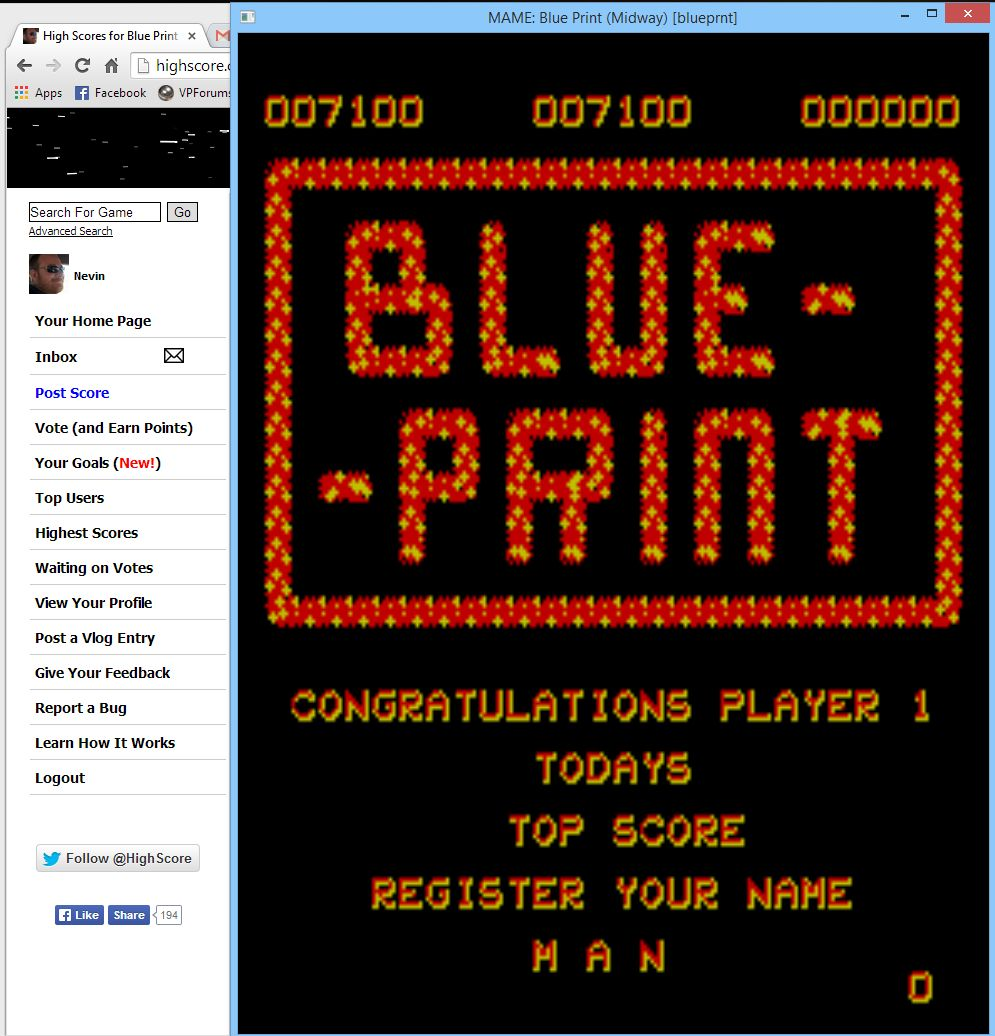 Nevin: Blue Print (Arcade Emulated / M.A.M.E.) 7,100 points on 2014-05-09 16:07:12