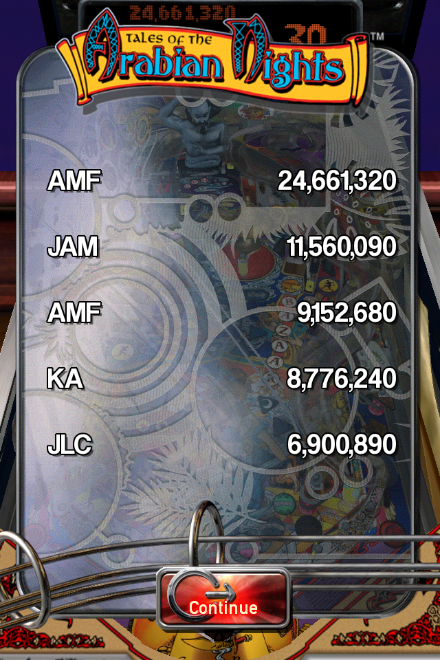 FosterAMF: Pinball Arcade: Arabian Knights (iOS) 24,661,320 points on 2014-05-10 13:07:51