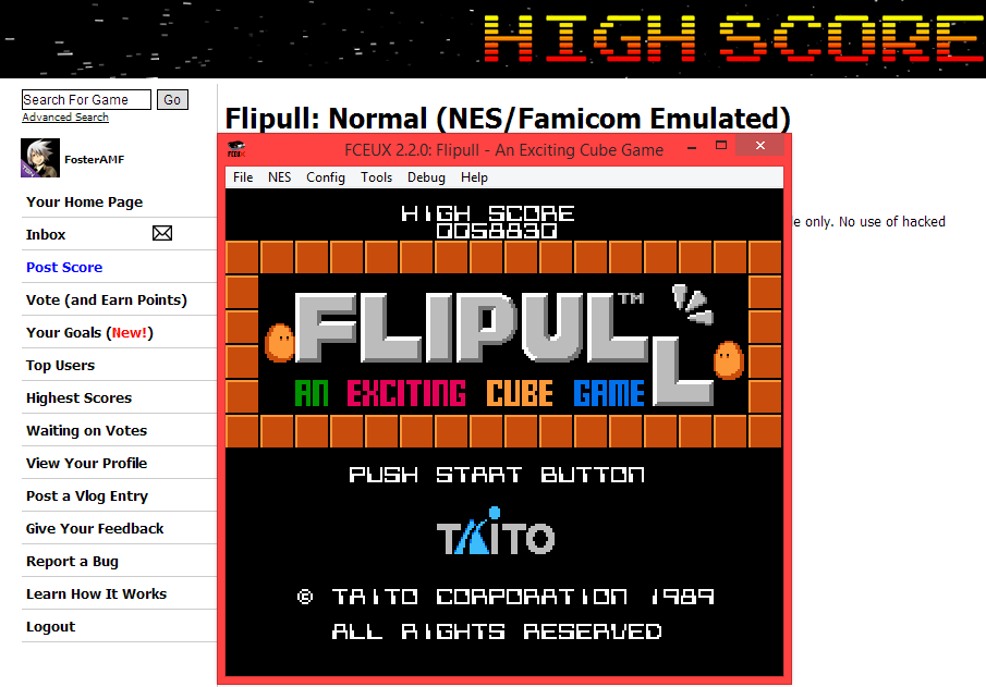FosterAMF: Flipull: Normal (NES/Famicom Emulated) 58,830 points on 2014-05-10 17:39:55