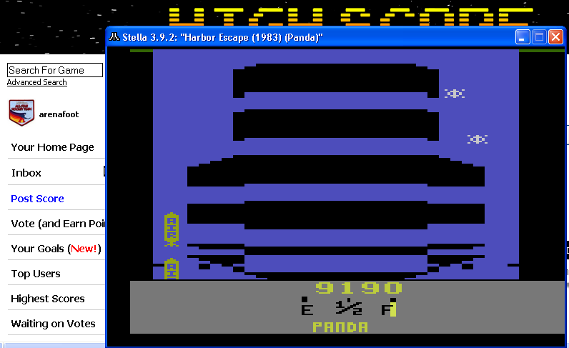 arenafoot: Harbor Escape (Atari 2600 Emulated) 9,190 points on 2014-05-10 21:37:55