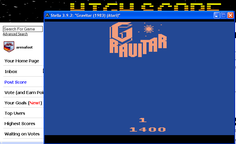 arenafoot: Gravitar (Atari 2600 Emulated Novice/B Mode) 1,400 points on 2014-05-10 21:50:45