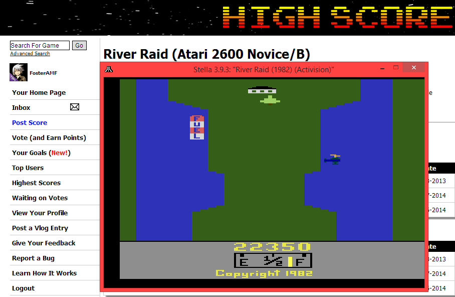 FosterAMF: River Raid (Atari 2600 Emulated Novice/B Mode) 22,350 points on 2014-05-11 15:30:56