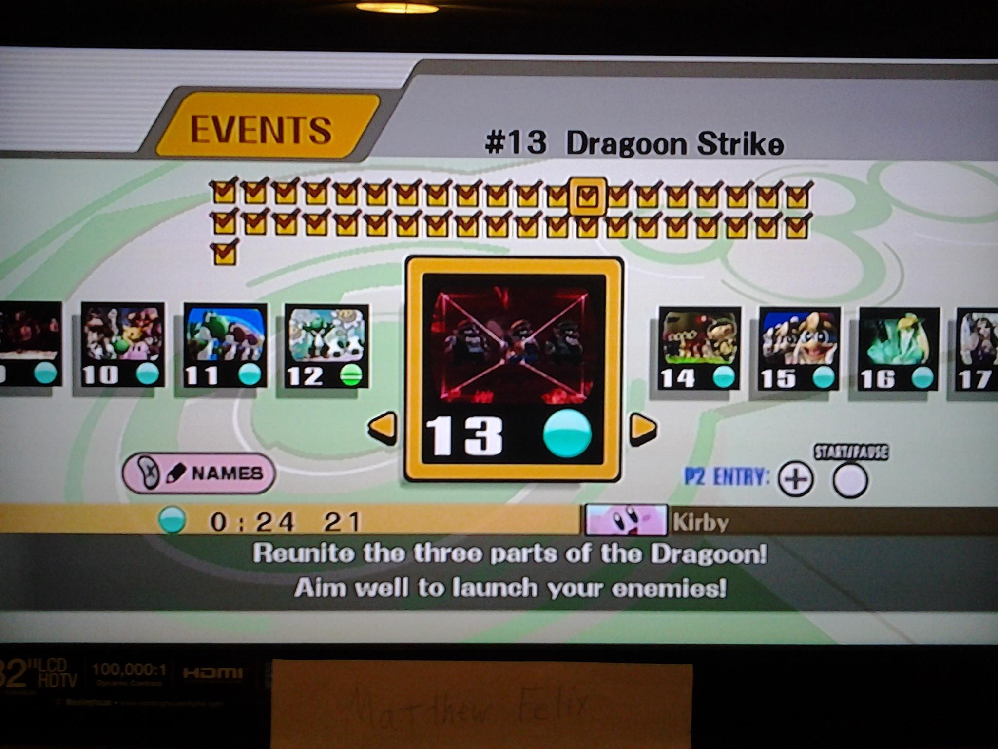 Super Smash Bros. Brawl: Event Match 13: Dragoon Strike [Easy] time of 0:00:24