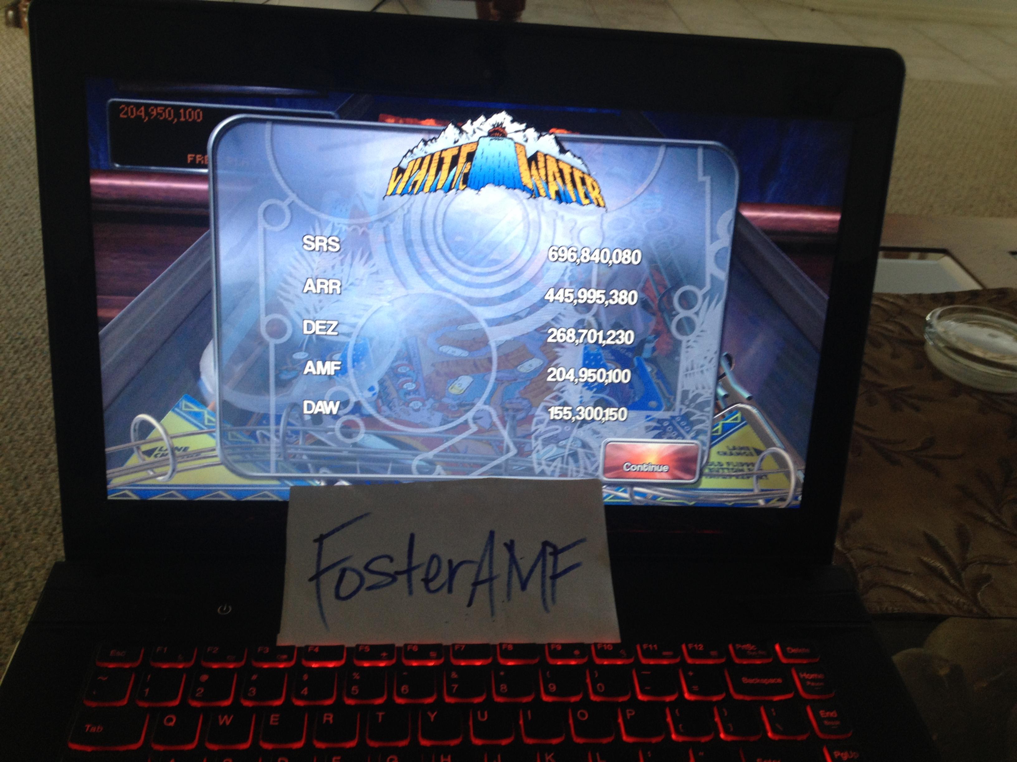 FosterAMF: Pinball Arcade: White Water (PC) 204,950,100 points on 2014-05-11 20:29:36