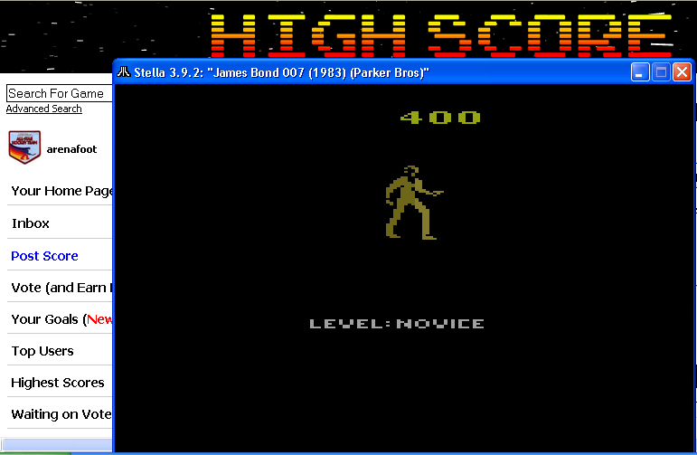 arenafoot: James Bond 007 (Atari 2600 Emulated Novice/B Mode) 400 points on 2014-05-12 09:28:57