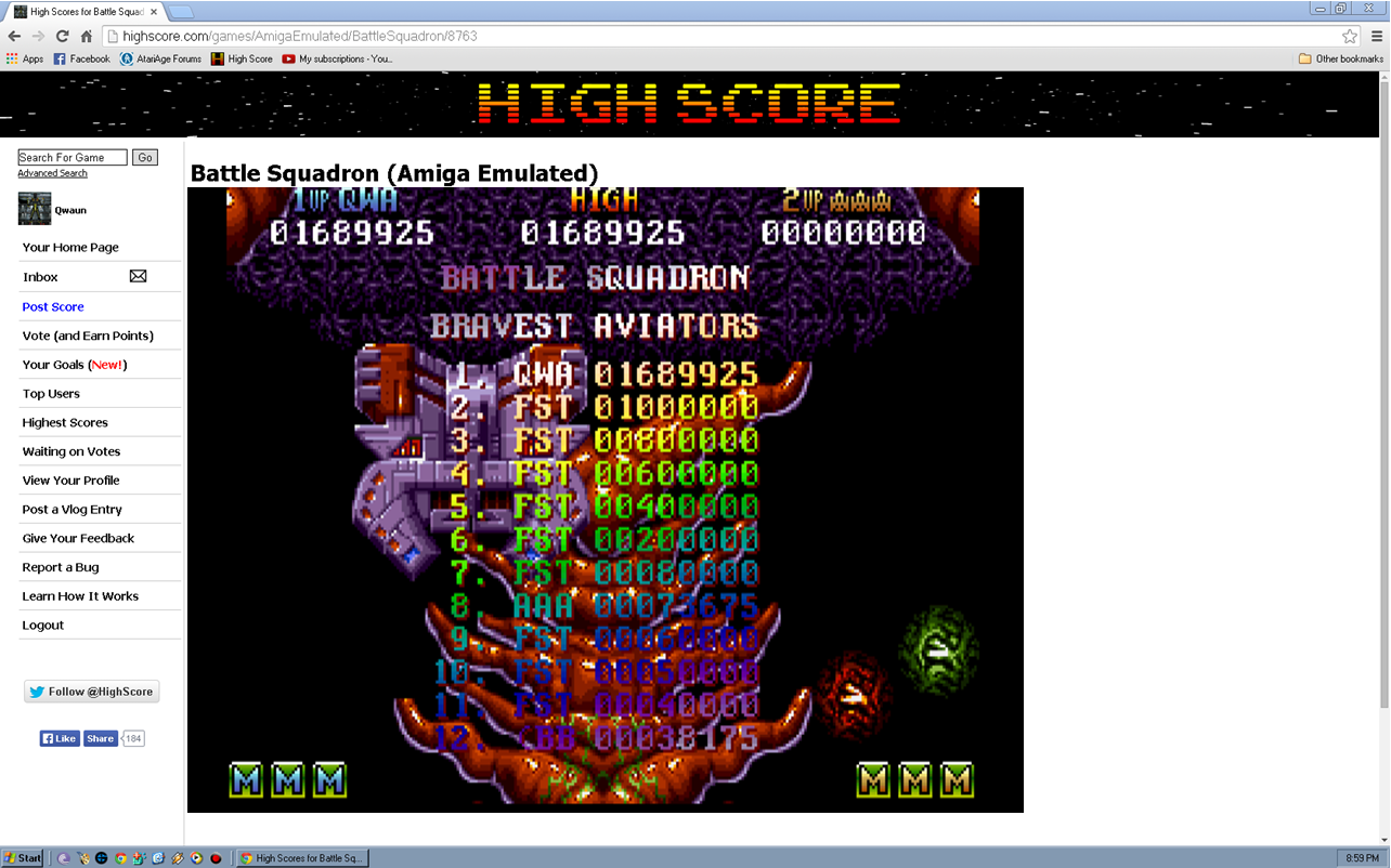 Qwaun: Battle Squadron (Amiga Emulated) 1,689,925 points on 2014-05-12 12:57:56