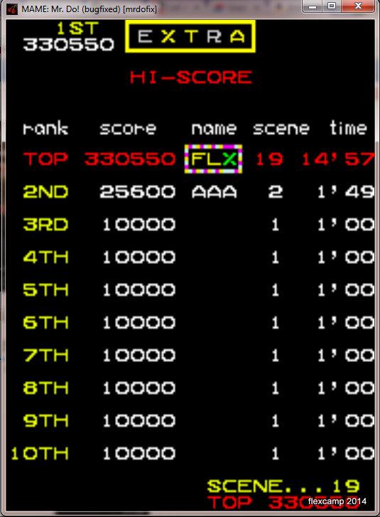 flexcamp: Mr. Do (Arcade Emulated / M.A.M.E.) 330,550 points on 2014-05-12 13:07:29